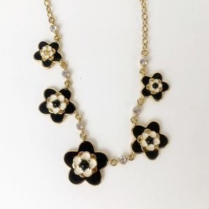 Kate Spade Flower Black Gold Chain Necklace